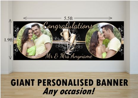 Personalised GIANT Large Congratulations Wedding Engagement Anniversary PHOTO Poster Banner N12